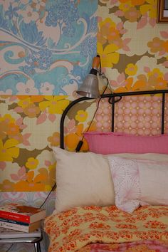 @Mindy Reeble i'm not sure if this is old wallpaper collaged but it could be cut-up and wheat pasted bed linens. you could take a sheet of plywood and do this to it and make a crazy olde headboard or decorative element. hmmmmm.
