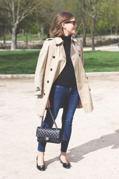 Classic. Trench. Jeans. Ballet flats. Black sweater.
