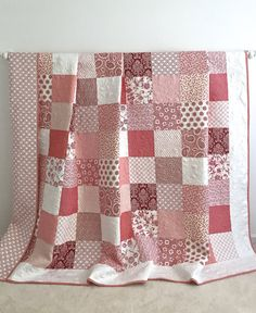 King Patchwork Quilt with Floral Fabrics by KimsQuiltingStudio