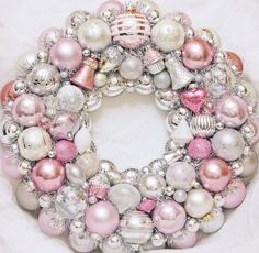 Pink wreath, Ornament Wreath, Vintage Ornament Wreath Ornament Wreath Pink wreath Valentine Wreath by judyblank on Etsy Christmas Ornament Wreath, Valentine Wreath, Ornament Crafts, Vintage Christmas Ornaments, Christmas Tree Decorations, Christmas Open House, Pink Christmas, Xmas, Advent