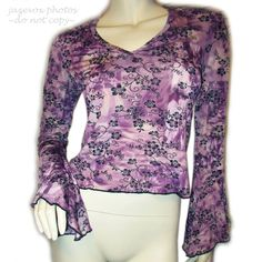 USA MADE Women PURPLE BLACK Glitter Sparkle BELL LONG SLEEVE V-NECK TOP Floral $59.98 #clothes #fashion #clothing #Blouse #purple #floral #flowers