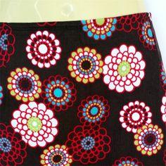 Brown Daisy Corduroy A Line Skirt, retro flower print - ladies sizes avail