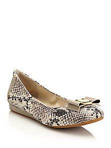 Cole Haan - Tali Snake-Embossed Leather Balelt Flats
