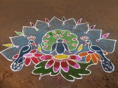 peacock kolam by Parameswari.V, via Flickr