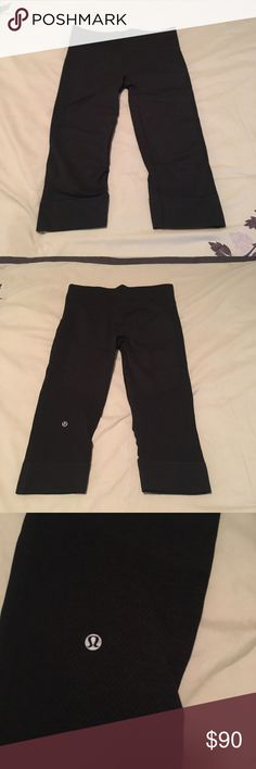 💖SALE💖Lululemon Athletica Black Leggings Athletic leggings that are about mid calf length. These are in great condition. They are black in color and are a size 6. The tag was cut out of this pair. They are of medium thickness. They are not super thin, but not super thick either. lululemon athletica Pants Leggings