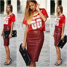 Zara pencil burgundy bordeau red wine skirt Size M .80€