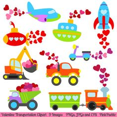Valentine Transportation Clipart Clip Art, Valentine's Day Clip art Clipart - Commercial and Personal Use. $6.00, via Etsy.