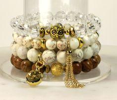 Stacking Bracelets/Stretch Bracelets/ owl Bracelet/ Beaded Bracelet/ Charm Bracelet/ Gifts for Her/ Crystal Bracelet/ owl / gift/ charms by WristCandybyKee on Etsy