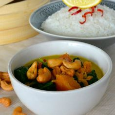 Curry met spinazie, pompoen en cashewnoten ♥ Foodness - good food, top products, great health