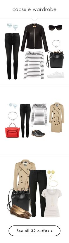 """""""capsule wardrobe"""" by lilly517 ❤ liked on Polyvore featuring Mansur Gavriel, Paige Denim, H&M, Common Projects, Tiffany & Co., Chanel, Hudson, Burberry, Manolo Blahnik and Dondup"""