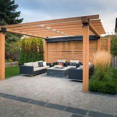 Gallery of Retractable Shade - Vaughan - 5 Wood Pergola, Outdoor Pergola, Backyard Pergola, Pergola Shade, Pergola Plans, Modern Pergola, Pergola Ideas, Backyard Shade, Patio Ideas