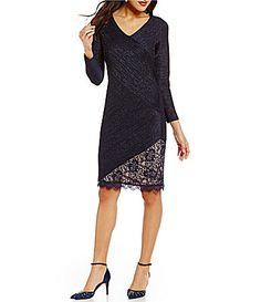 03d78fe0488 London Times Long Sleeve Metallic Pintuck Lace Sheath Dress  Dillards Lace  Sheath Dress