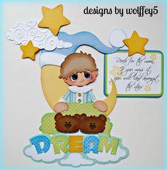 ELITE4U BOY DREAM    paper piecing premade scrapbook page die cut album WOLFFEY5