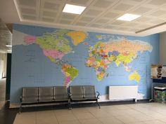 Harita Duvar Kağıdı - Dünya Haritası Tablosu - Dekorasyon - 3D Duvar Kağıdı - Okul Dekoru - İç Mimari - Dekoratif Dünya Haritası