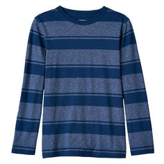 Boys 8-20 Urban Pipeline® Striped Crew Tee, Size: Medium, Dark Blue