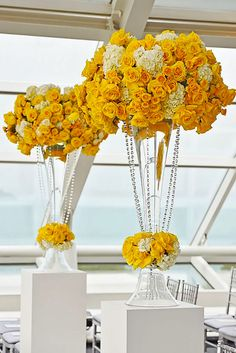 1000 ideas about tall wedding centerpieces on pinterest - Yellow and orange wedding decorations ...