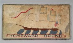 """""""Homeward Bound"""" Wool and Cotton Hooked Rug, America, early 20th century"""
