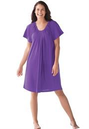 Plus Size Coverup, with shirred U-neck, in jersey knit