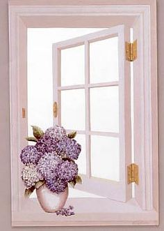 Window_Hydrangea Handmade Faux Window Picture. h1Window_Hydrangea Handmade Faux Window Picture_h1Window_Hydrangea Handmade Faux Window Picture. This piece of art creates the illusion of an opened window, giving your windowless room the breezy feeling that it was lacki.. . See More Faux Window Mirrors and Pictures at http://www.ourgreatshop.com/Faux-Window-Mirrors-Pictures-C1085.aspx