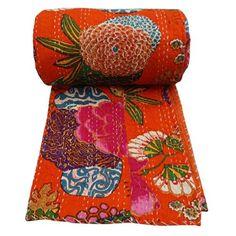 Floral Print Decorative Kantha Stitch Quilt Pure Cotton Reversible Bedspread Orange Gudri Queen Size Bedspread *** Learn more @ http://www.amazon.com/gp/product/B00KNUDXEM/?tag=ilikeboutique09-20&lm=040816021018