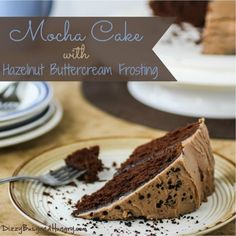 Mocha Cake with Hazelnut Buttercream Frosting - A dark, moist, coffee flavored chocolate cake paired with the nutty sweetness of a hazelnut buttercream frosting
