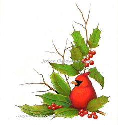 Printable Christmas Clip Art Cardinal Bird Holly by joyart on Etsy, $2.50.  Receive as JPG file to your email and use as often as you wish.