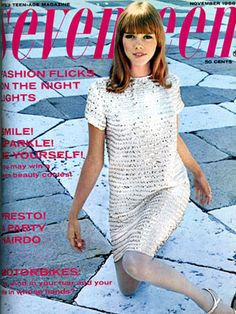 Cover model Joan Delaney looks adorable in her still trendy bangs and sequined dress!