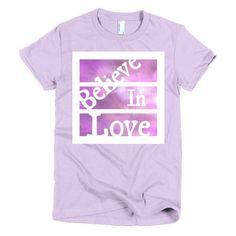 Short sleeve women's t-shirt (Believe in Love) Purple