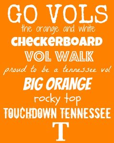 Go Vols. The Orange and White. Vol Walk. Proud to be a Tennessee Vol. Big Orange. Rocky Top. Touchdown Tennessee.