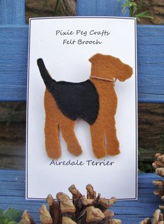 Airedale Terrier Brooch, Airedale Badge, Airedale Pin, In Felt.