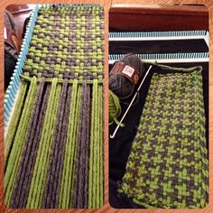 Weaving a houndstooth scarf! Acrylic and wool blend on the Martha Stewart knit and weave loom kit Loom Knitting Stitches, Knifty Knitter, Loom Knitting Projects, Weaving Projects, Arm Knitting, Weaving Yarn, Hand Weaving, Inkle Loom, Loom Craft