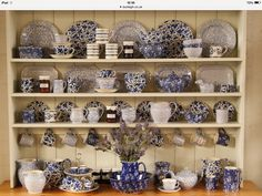 Burleigh Pottery on an English dresser. The pottery is in Stoke, England.