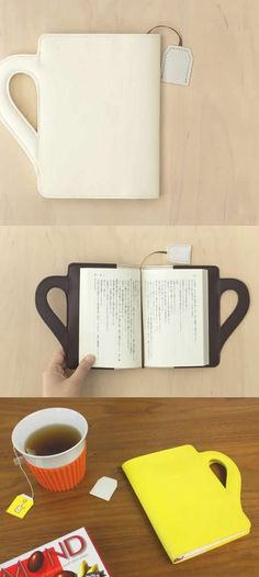 Book holder shaped like a cup of tea, with teabag bookmark.