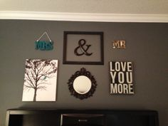 Master bedroom decor....love the miss matched decor!! So going to do this!!