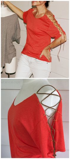 DIY Leather Lace Up Tee Shirt RestyleMake this easy NO SEW laced up shoulder tee using safety pins and leather lacing. For more than 300 DIY Altered Tee Shirts go here. Find the tutorial for this DIY Leather Lace Up Tee from Wobisobi here.