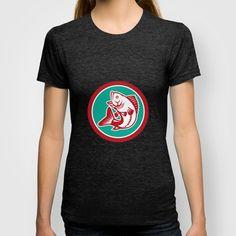 Largemouth Bass Jumping Circle Retro T-shirt