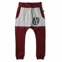 Pouch Trackies, Beetroot/Grey