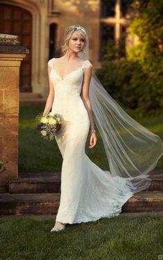 Shoulder Straps Cap-Sleeve Beaded Lace Sweep Train Long Lace wedding dresses