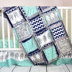 Elephant Crib Set - Mint, Navy Blue, Gray Elephant Nursery Bedding