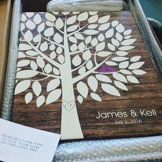 Wishwik Wood Wedding Tree Canvas | Guest Book Alternative | 75 Signature Spaces | Rustic Wedding | Customer Photo | Wedding Color - Purple | peachwik.com
