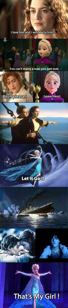 Funny pictures about Elsa Joins Titanic. Oh, and cool pics about Elsa Joins Titanic. Also, Elsa Joins Titanic photos. Disney Memes, Funny Quotes, Funny Memes, Hilarious, Fangirl, Little Bit, Lol, Jelsa, The Villain