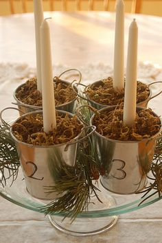 """Advent """"wreath"""" to burn every night, weeks 1-4 of Advent.  Label pails with permanent marker, fill with dry beans!"""