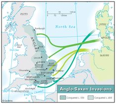 Map of Anglo-Saxon Britain: immigrants from Denmark, Netherlands, and Germany spoke a cluster of related dialects falling within the Germanic branch of the Indo-European language family. Description from pinterest.com. I searched for this on bing.com/images