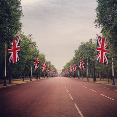 The Mall nel City of Westminster, Greater London. Questa è la famostra strada cerimoniale che Buckingham Palace all'Admiralty Arch.