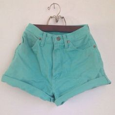Mint high waisted shorts Mint high waisted jean shorts by Vibrant. This brand is great for high waisted jeans and shirts. The real color of the shorts is best seen in the first and third photos. In perfect condition! Vibrant Shorts Jean Shorts