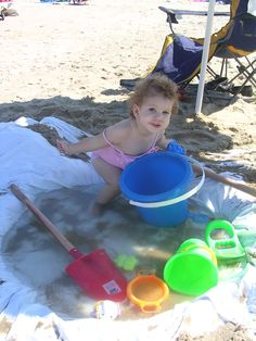 Instant Baby Pool for the Beach--bring a shower liner ($5) and a small shovel.  Dig a hole the width and depth of a tire. Lay the liner over the hole and fill with water. Done!