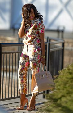 Spring Floral by Jadore-Fashion ~Latest African Fashion, African Prints, African fashion styles, African clothing~ African Inspired Fashion, African Print Fashion, Africa Fashion, Fashion Prints, Floral Fashion, African Prints, African Attire, African Wear, African Women