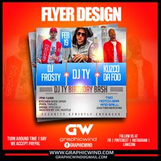 Top Flyer of the day! Dj Ty birthday bash Flyer Design We create an attractive Flyer design with a fast turn around time. For high-quality Flyer designs Contact us at web: www.graphicwind.com or please email us to graphicwind@gmail.com Flyer Design, Logo Design, Web Technology, Birthday Bash, Creative Design, Dj, Create