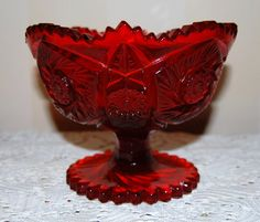 American Heritage Compote by L.E. Smith Glass by CatsVintageCorner
