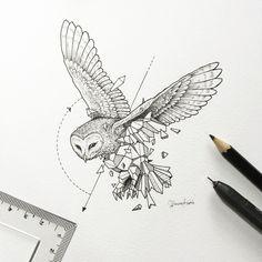 Animal illustrations broken down into geometric shapes